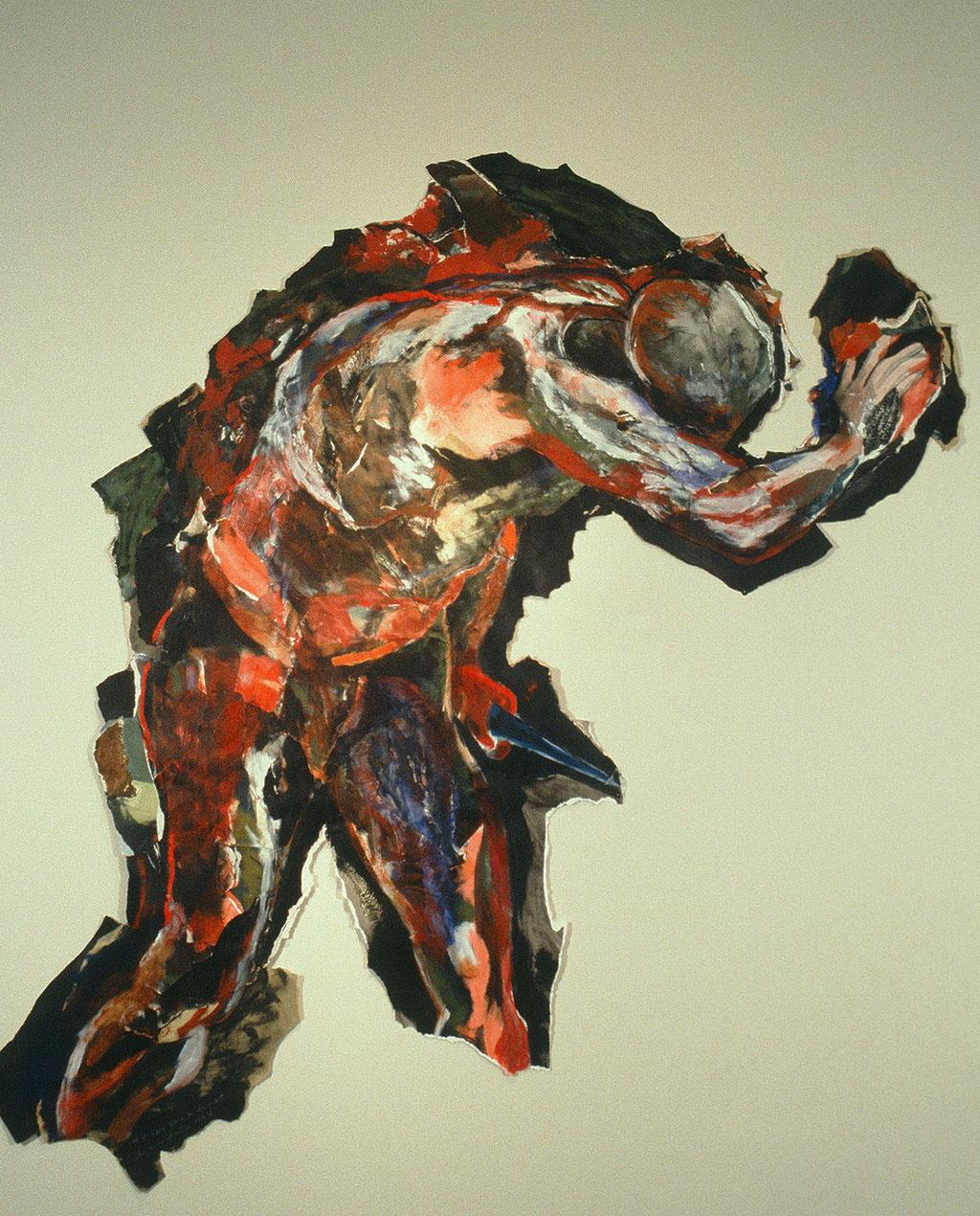 L'âpre délire de la mort, d'après Raphaël, 1994, 165 x 146 cm, techniques mixtes sur papier.