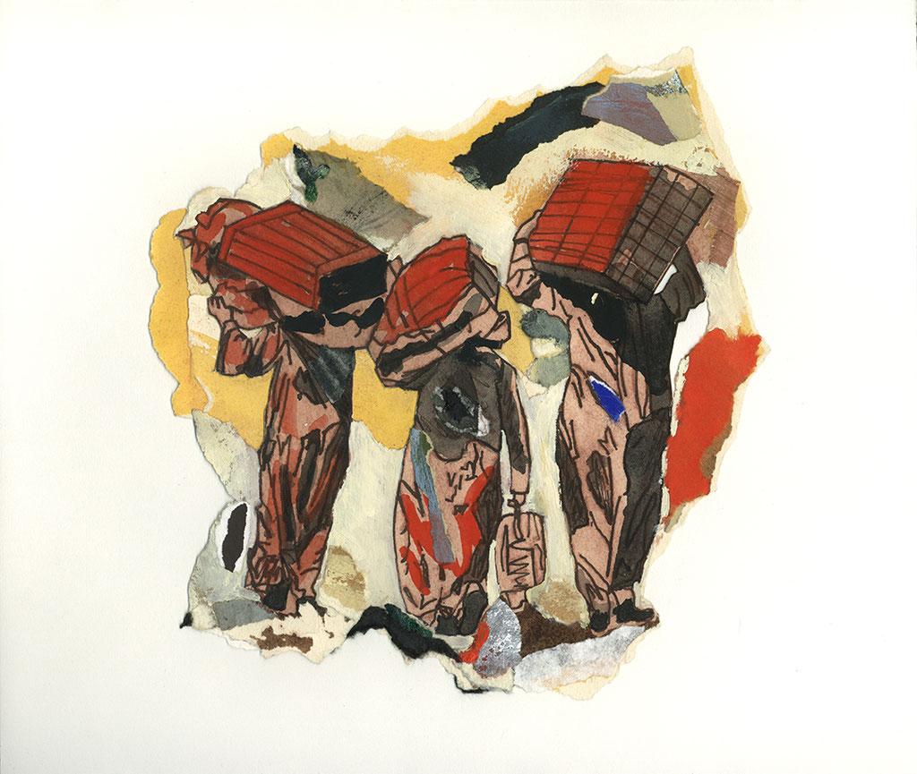 """Sans titre, 1995, 24 x 23 cm - 9.5"""" x 9"""", techniques mixtes sur papier - mixed media on paper."""