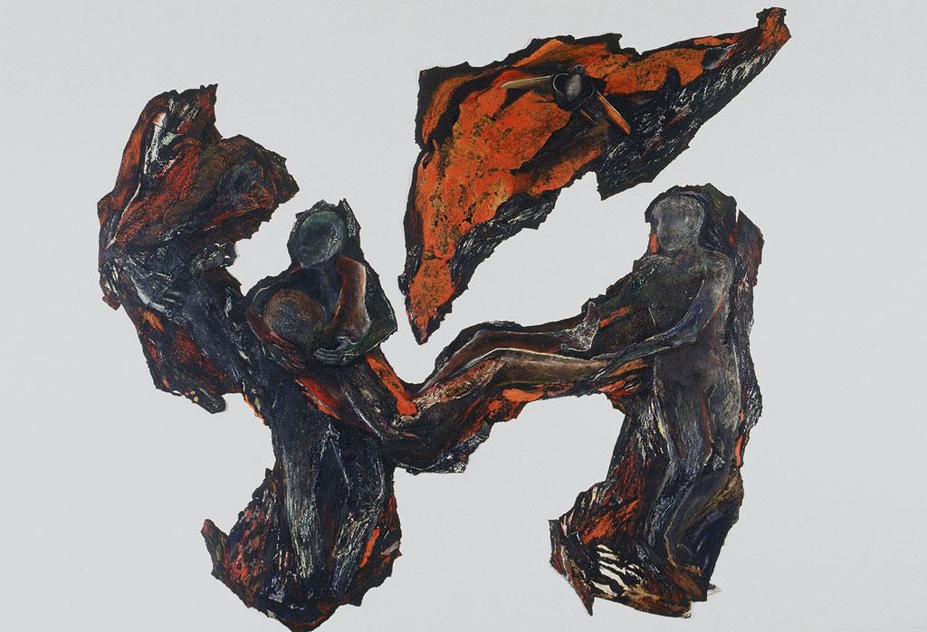 Un après-midi de fer et d'alarme brûlante, 1991, 330 x 280 cm, techniques mixtes sur papier goudronné. Photo: Paul Litherland
