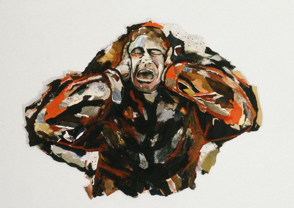 Ni mon cri, ni ma fièvre ne sont de moi, 1994, 52 x 69 cm, techniques mixtes sur papier.