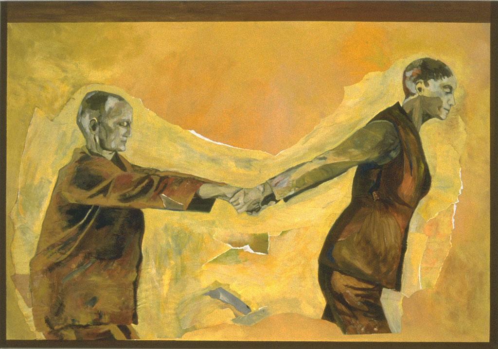 """Ronde, 2002, 200 x 140 cm - 79"""" x 55"""", acrylique et collage sur toile - acrylic and collage on canvas.  Photo: Éliane Excoffier"""