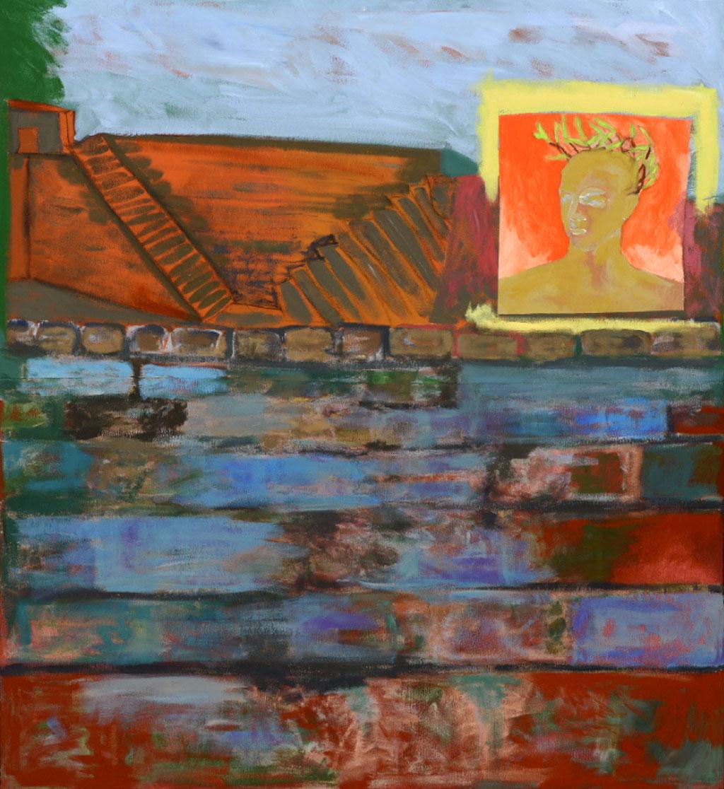 """Héro, 2013, 123  x 92 cm. - 48"""" x 36"""", acrylique et collage sur toile - acrylic and collage on canvas.   Photo: Réal Capuano"""