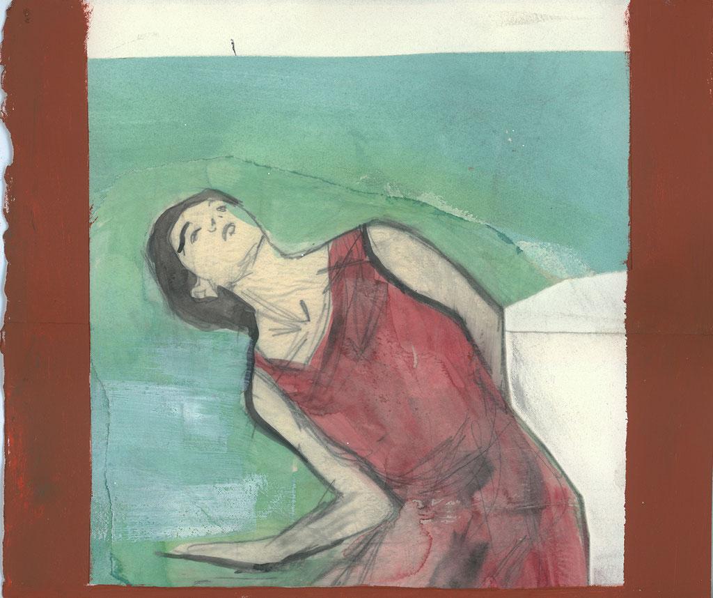 """Sans titre, 2001, 25 x 21 cm. - 10"""" x 8.5"""", techniques mixtes sur papier - mixed media on paper."""