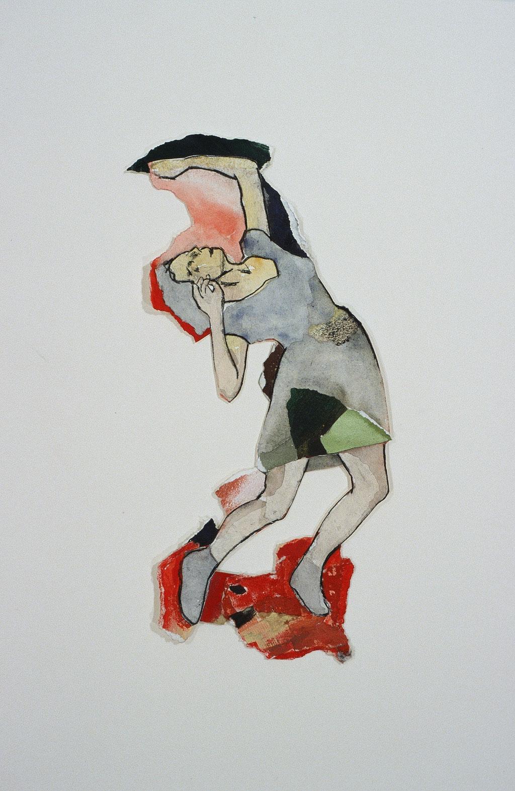 """Pétrification, 1997, 34 x 16 cm - 13"""" x 6.5"""", techniques mixtes sur papier - mixed media on paper."""