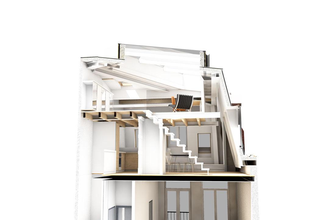 perspectief doorsnede appartement op de 4e verdieping