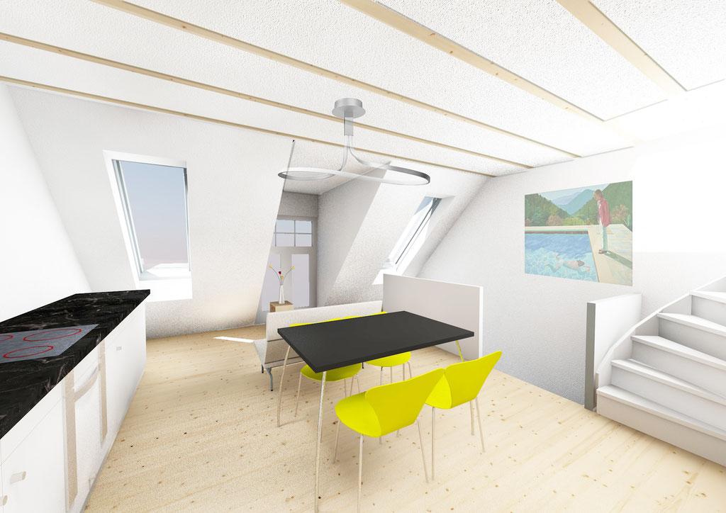 transformatie bergingen tot appartement binnenperspectief