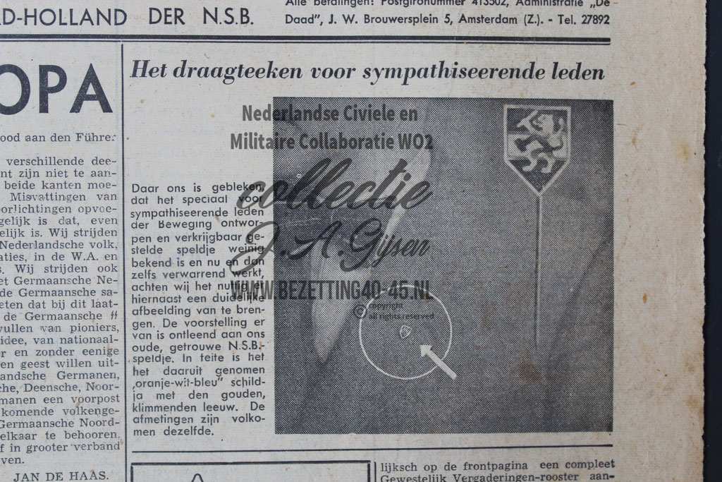 NSB Draagteken Sympathiseerden Leden, Kranten bericht.  ( NSB Badge )