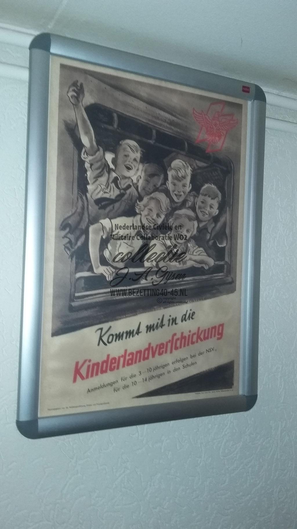 Poster affiche (Plakat) Hitler Jugend 'Kommt mit in die Kinderlandverschickung'