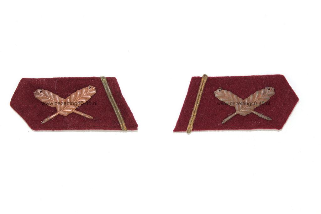 Nederlandse Arbeidsdienst uniform / tuniek (NAD) set kraagspiegels, Rang: onder opzichter.