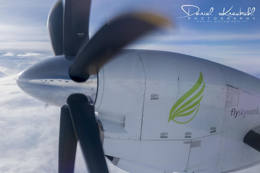 Saab 2000 der Skywork Airlines auf dem Hinflug von Bern nach Wien