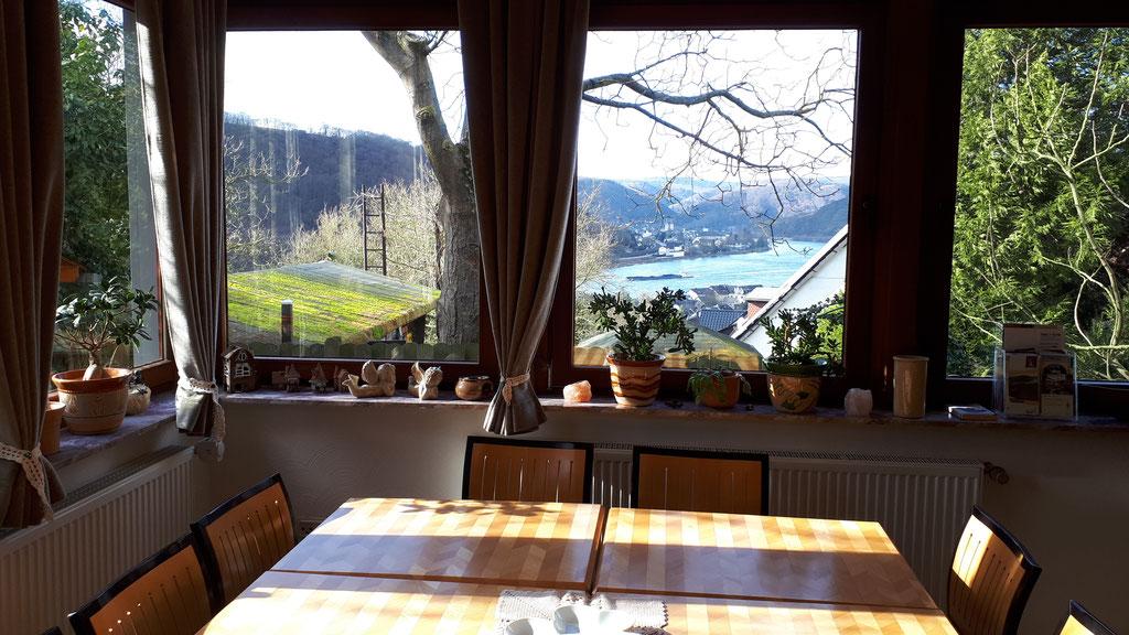 Blick aus dem Esszimmer auf den Rhein