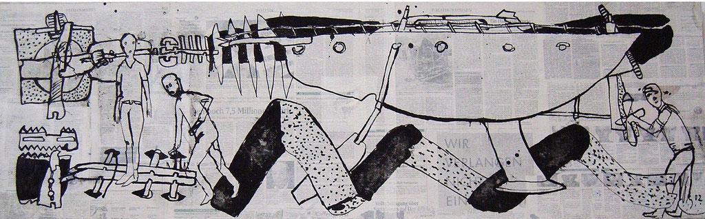 -Das Schiff- (2002) 40x134, Tusche auf collagierten Bildträger