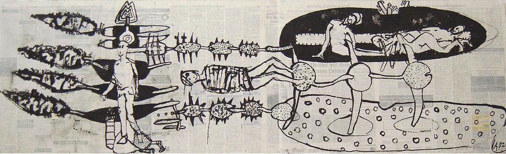 -Die Kastanien könnte man holen- (2002) 40x134, Tusche auf collagierten Bildträger