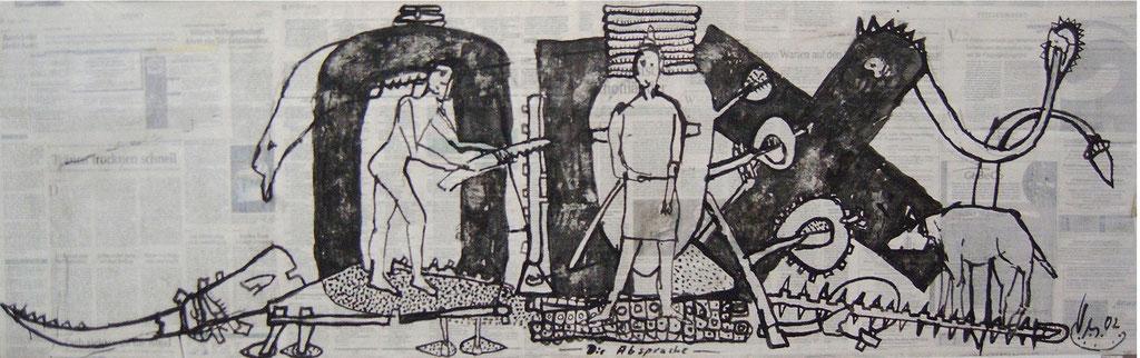 -Die Absprache- (2002) 40x134, Tusche auf collagierten Bildträger