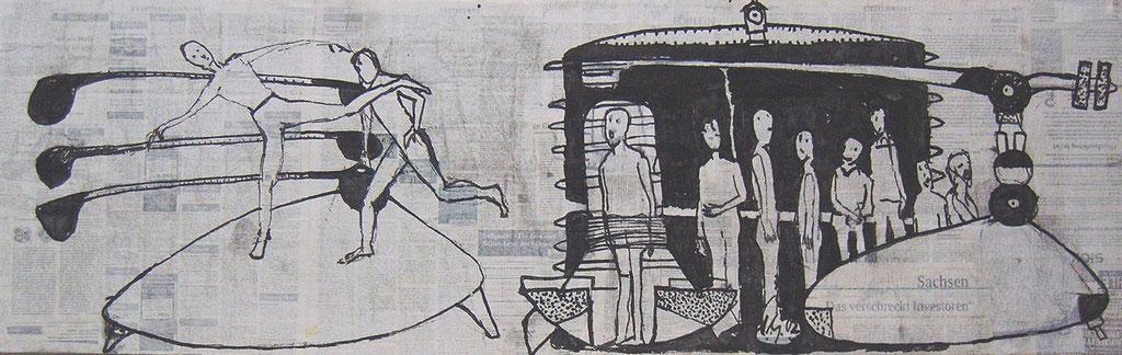 -Der Plattenliebhaber- (2002) 40x134, Tusche auf collagierten Bildträger