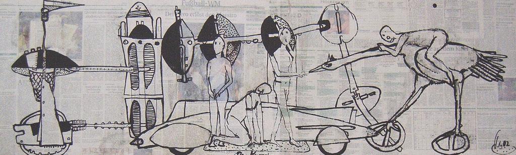 -Der Versuch- (2002) 40x134, Tusche auf collagierten Bildträger