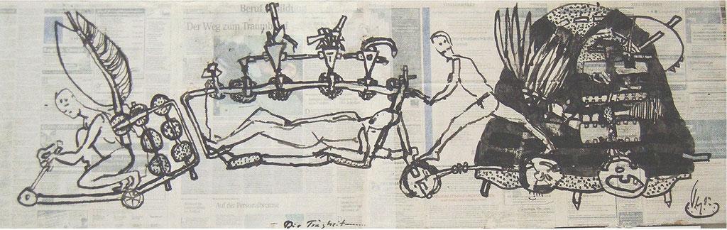 -Die Trägheit- (2002) 40x134, Tusche auf collagierten Bildträger