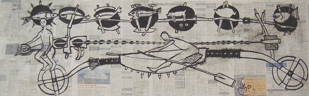 -Schwere Überfahrt- (2002) 40x134, Tusche auf collagierten Bildträger