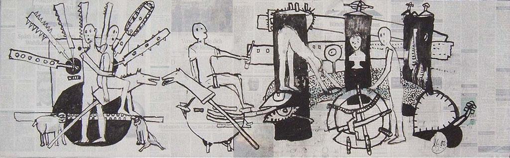 -Das Geld liegt auf der Straße- (2002) 40x134, Tusche auf collagierten Bildträger