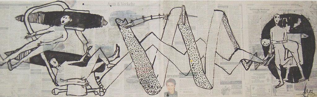 -Verhängnisvolle Familienbande- (2002)  40x134, Tusche auf collagierten Bildträger