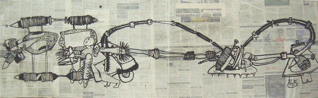 -Unangenehme Familienbande- (2002) 40x134, Tusche auf collagierten Bildträger