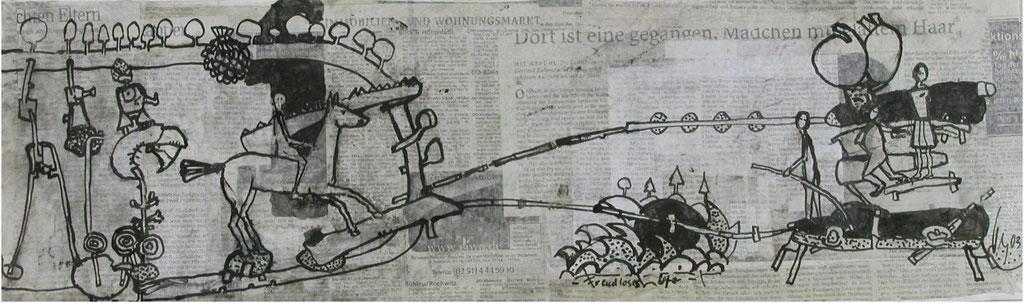 -Freudloses Ufer- (2003) 40x134, Tusche auf collagierten Bildträger