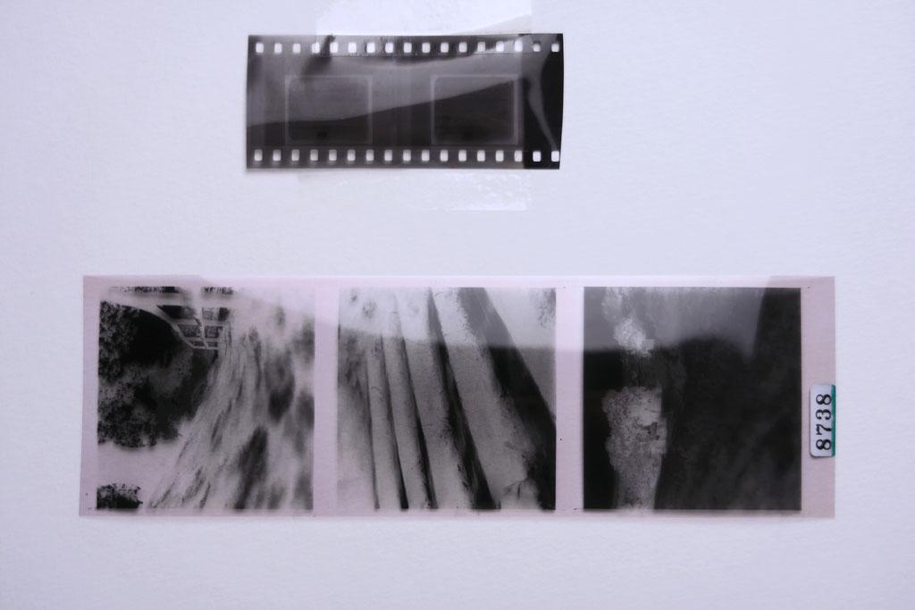 Deutlicher wird der Größenvergleich beim entwickelten Negativ. Kleinbild 24x36 mm (oben) vs. Mittelformat 60x60mm (unten)