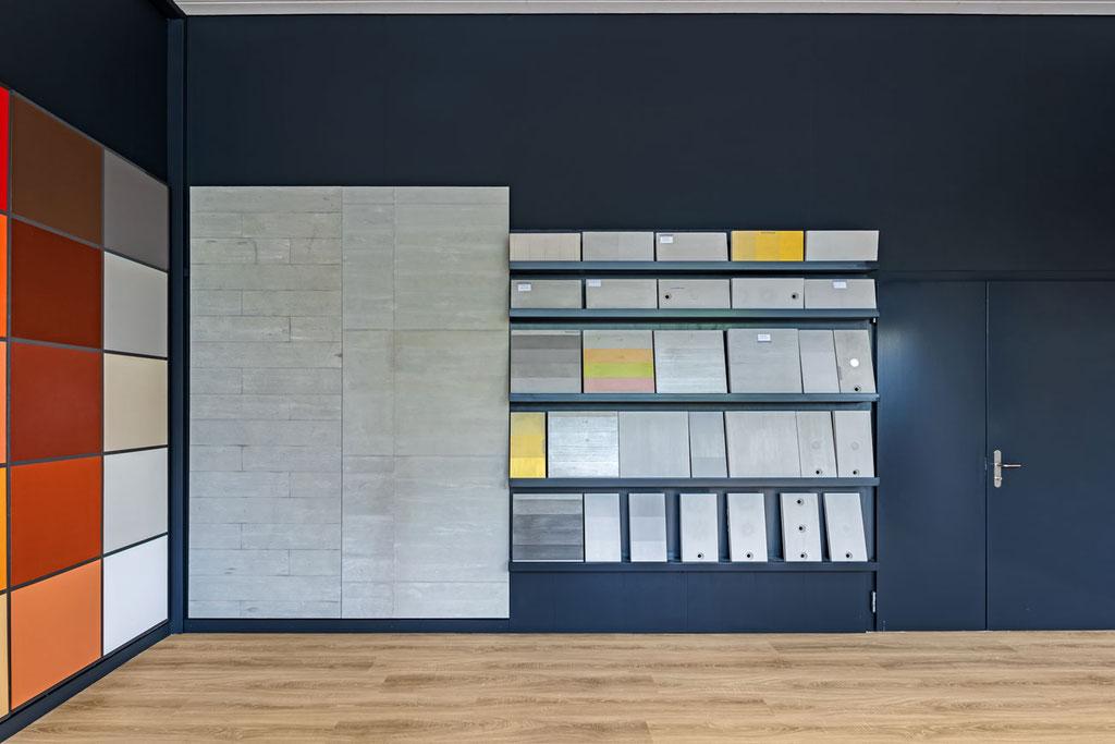 Muster für Sichtbeton, farbig lasierten Beton, Betonveredelung und Betonkosmetik.