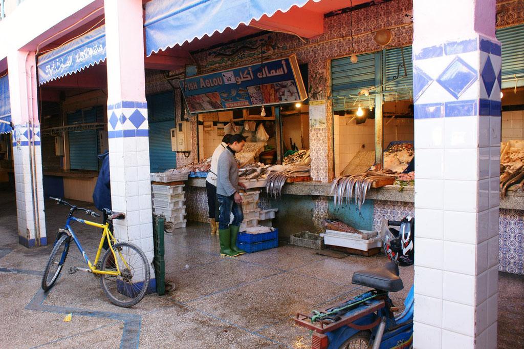 die langen Barracudas auf dem Fischmarkt, reizen zum berühren