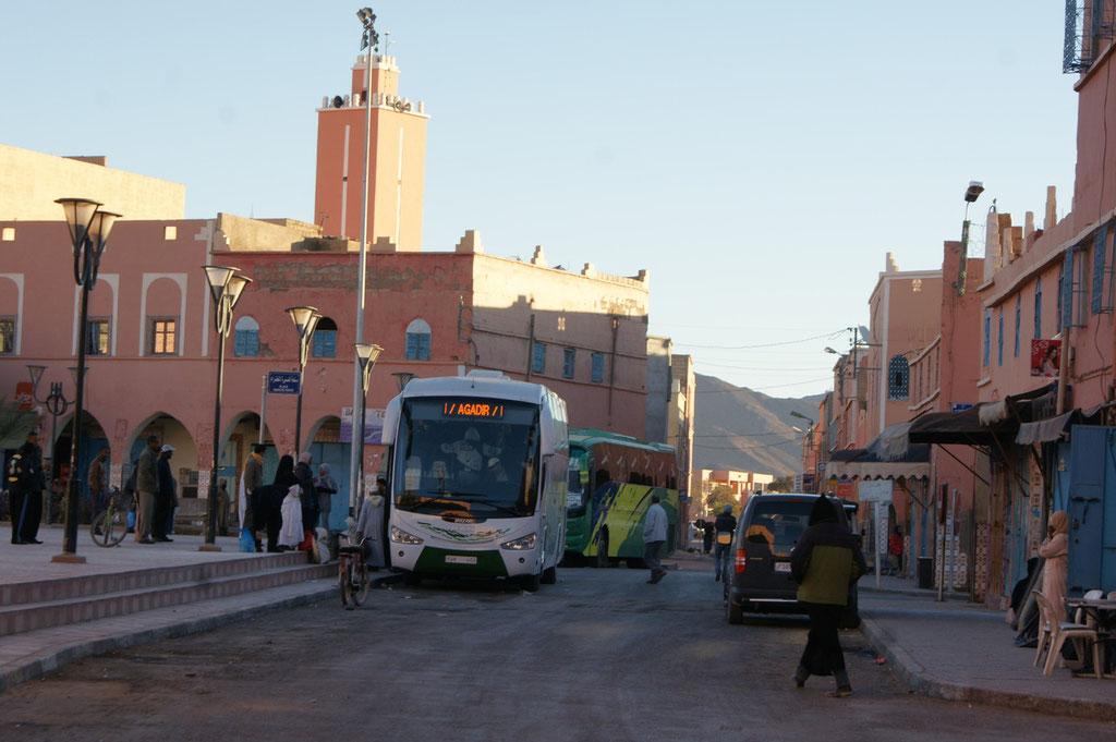 Die Busse stehen zur Abfahrt bereit