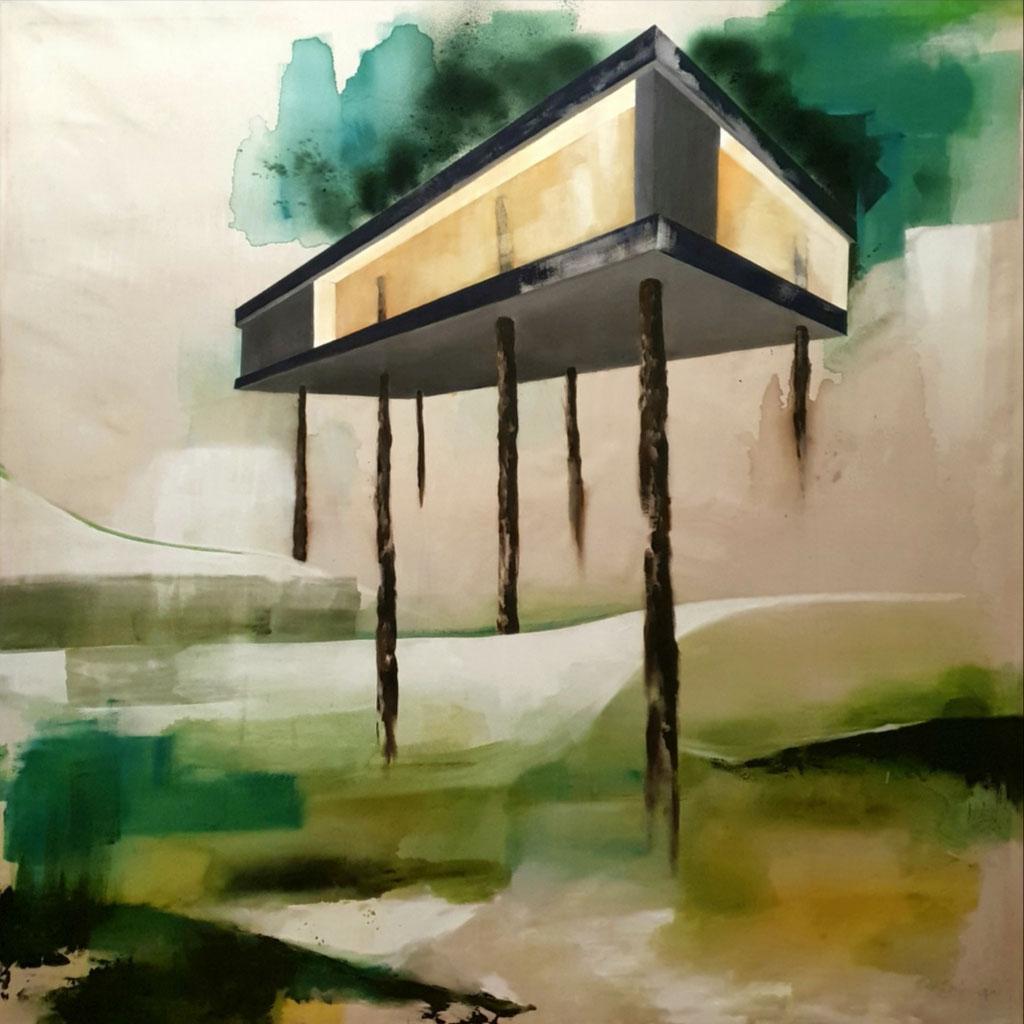 Baumhaus II, 160 x 160 cm, Acryl auf Leinwand, 2016. /verkauft/
