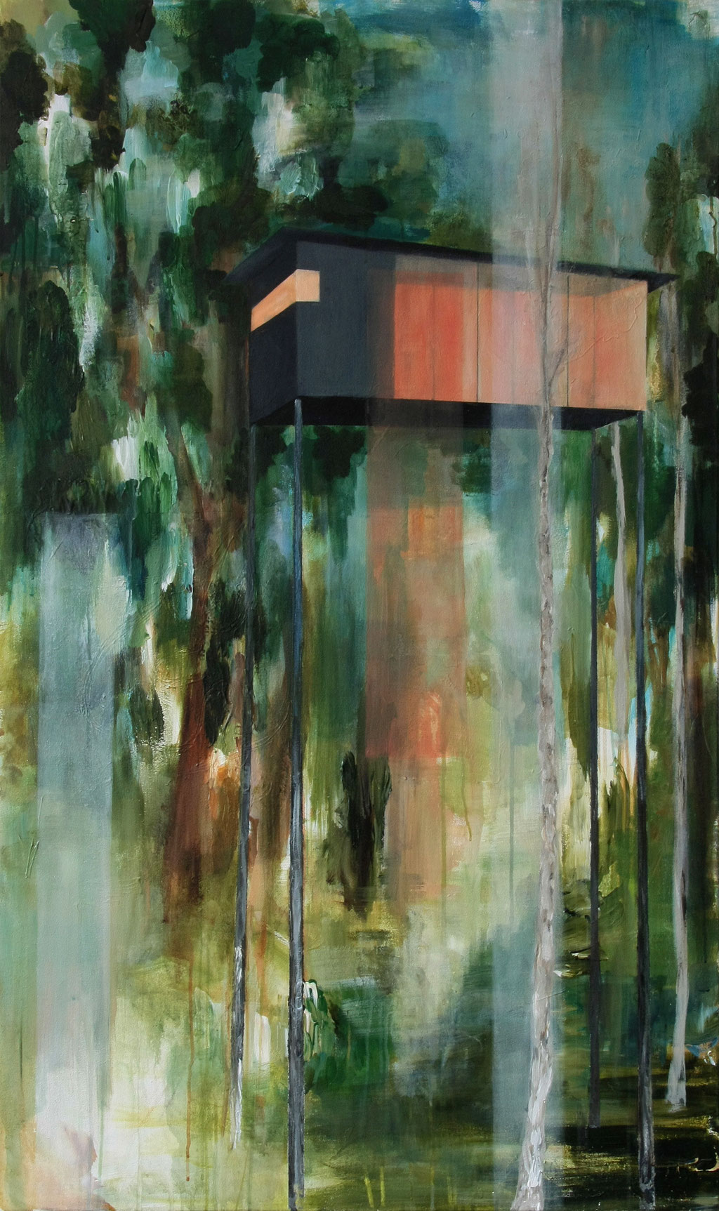Baumhaus, 150 x 90 cm, Acryl auf Leinwand, 2015. /verkauft/