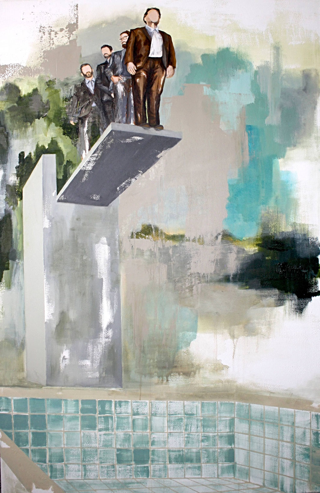 Sprungturm, 220 x 145 cm, Acryl auf Leinwand, 2017. /Privatbesitz/