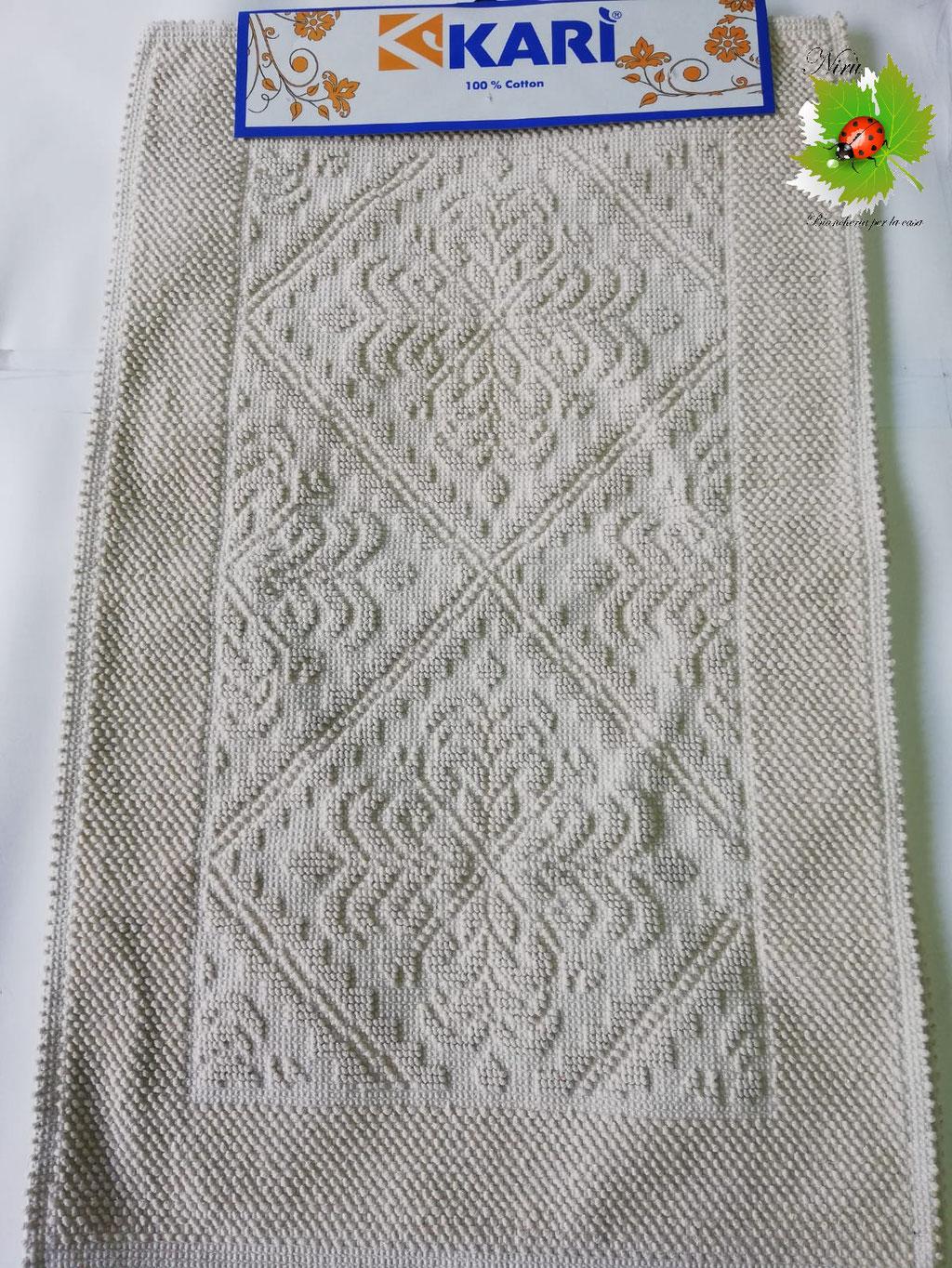 Tappeto bagno 3 pezzi 100% Cotone Sardo beige. Art.A738