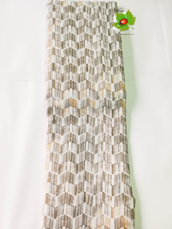 Copriletto leggero di tela una piazza e mezza Linea Oro stile geometrico. Col.Tortora. B484