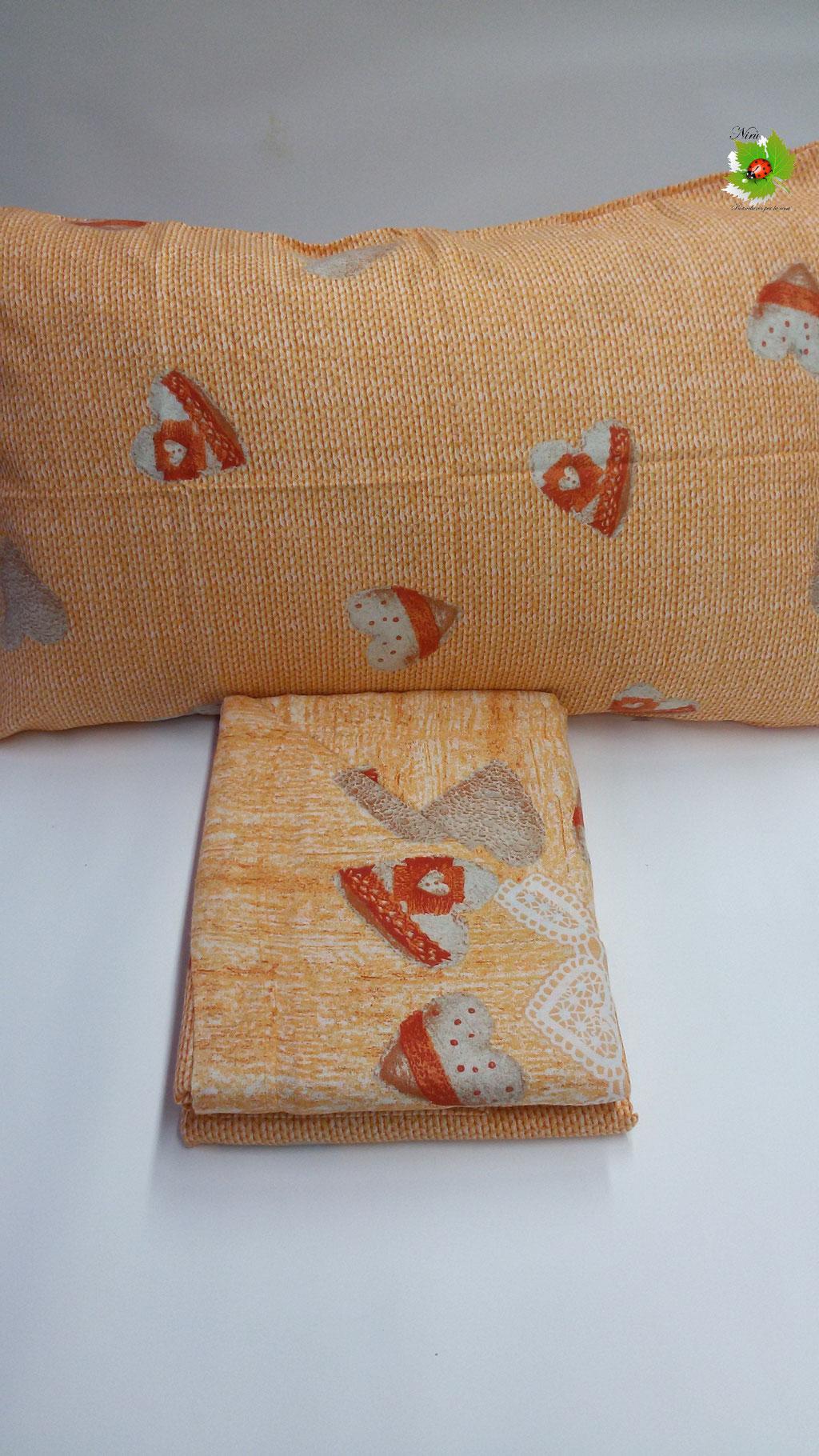 Completo lenzuola di flanella singolo maxi. Col.Arancio. Art.A684