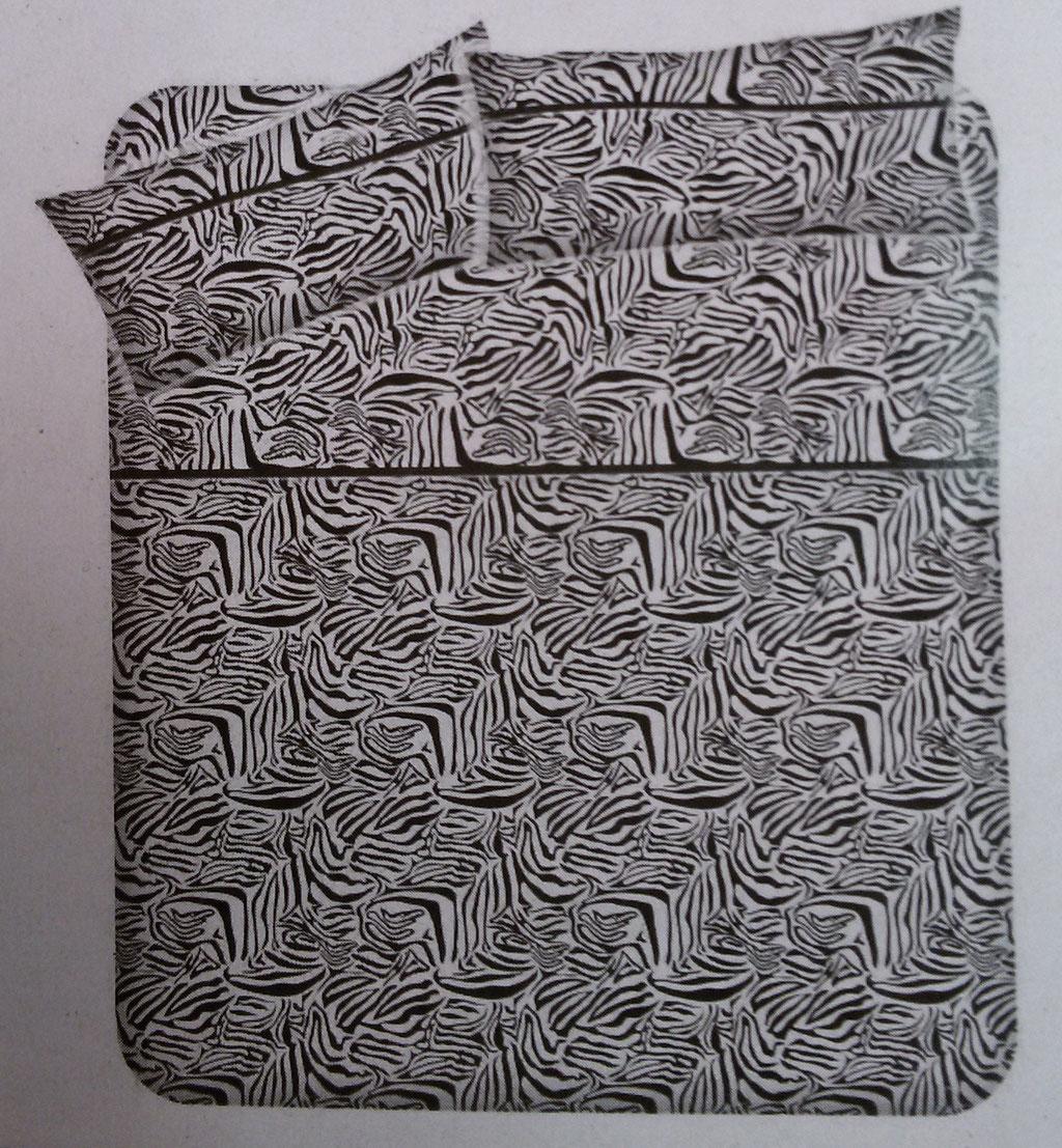 Completo lenzuola matrimoniale fantasia zebrata. A781