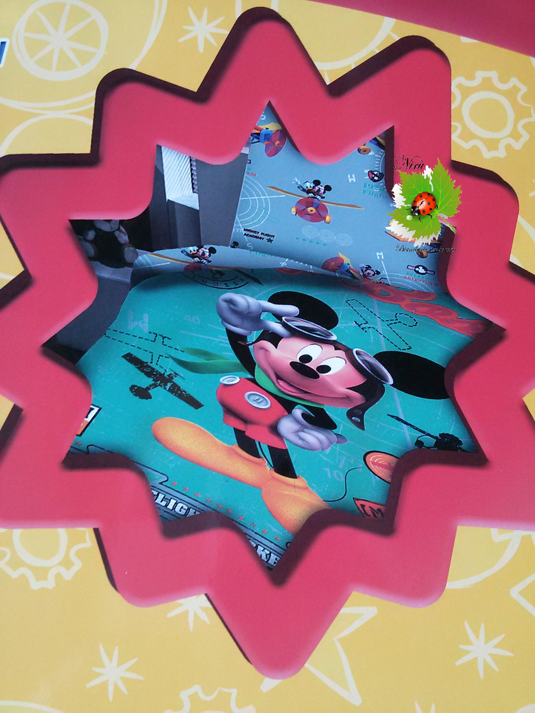 Completo lenzuola Disney Topolino Micky singolo cotone. Art.A310