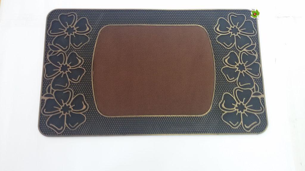 Tapprto zerbino gommato antiscivolo rettangolare 45x74 cm. Col. Marrone. Art.N04