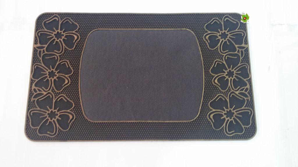 Tapprto zerbino gommato antiscivolo rettangolare 45x74 cm. Col. Grigio. Art.N04