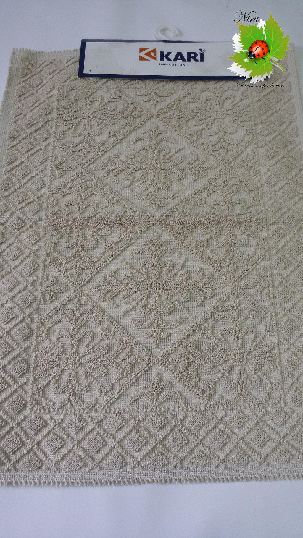 Tappetino bagno 100% cotone 55x80 cm sardo fiore beige. A739