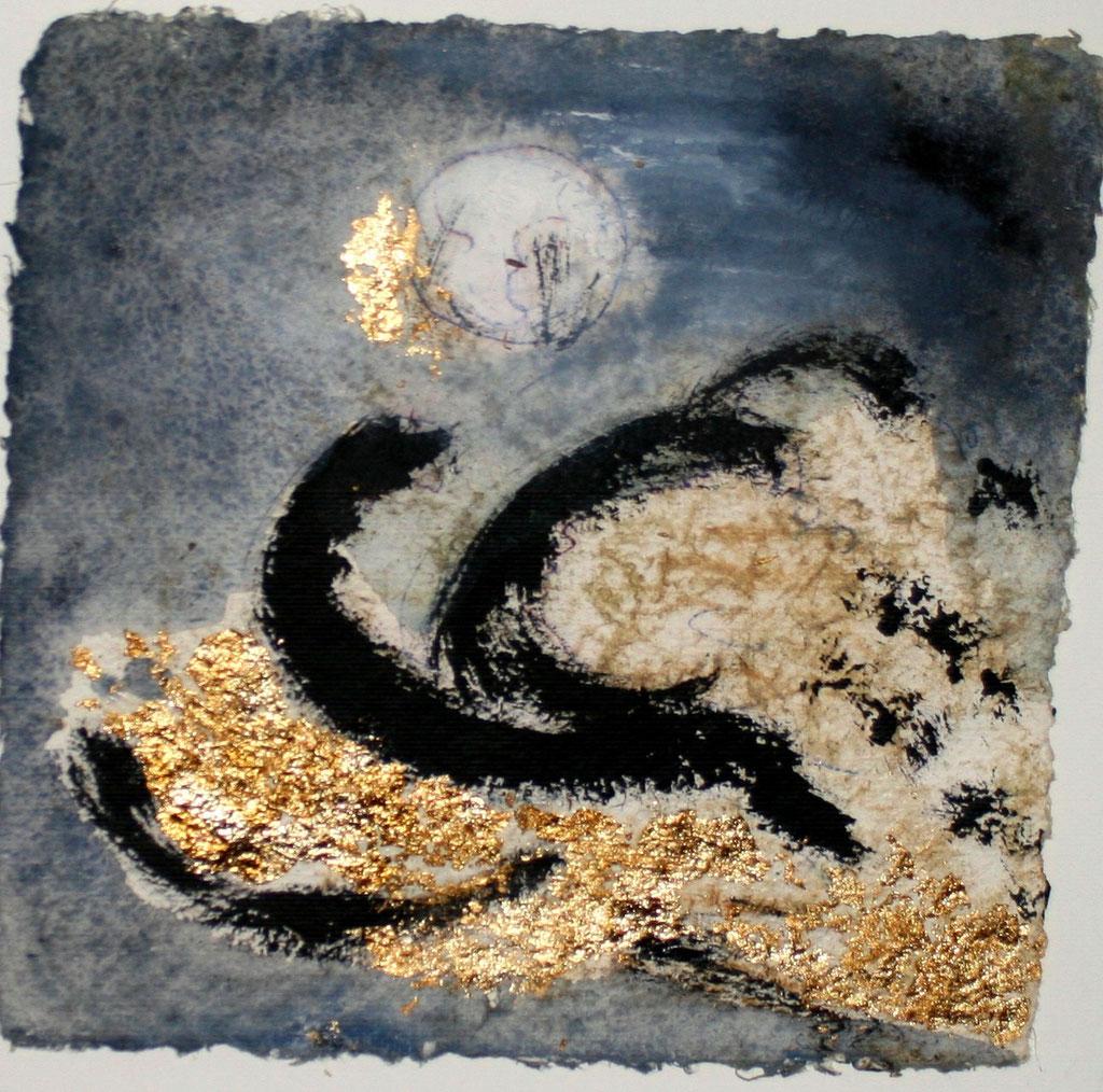 l´orage et la lune, 20x20cm Bütten 2015, ©  Nathalie Arun