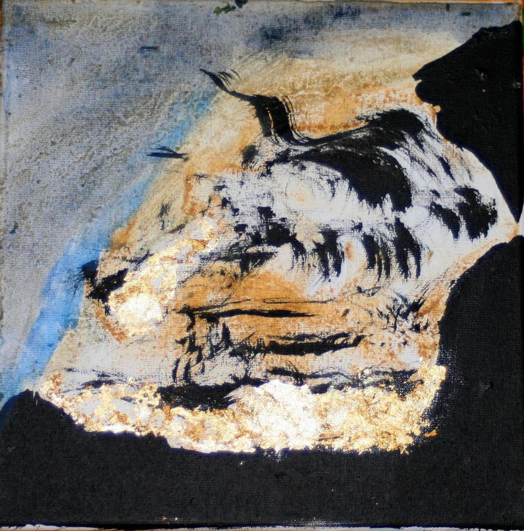 le regard des falaises sur les marées hautes, 20x20cm sur toile 2015, ©  Nathalie Arun