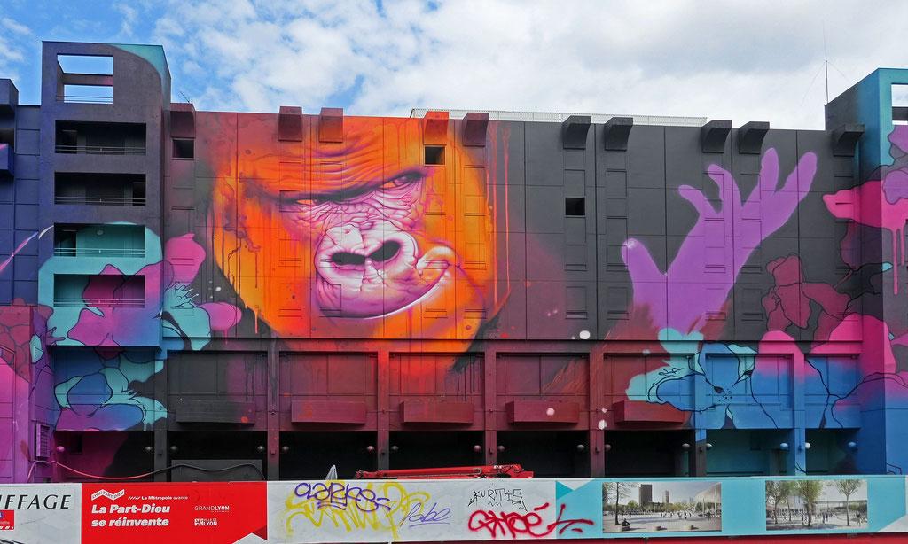 Gorille- fresque provisoire de la Part-Dieu