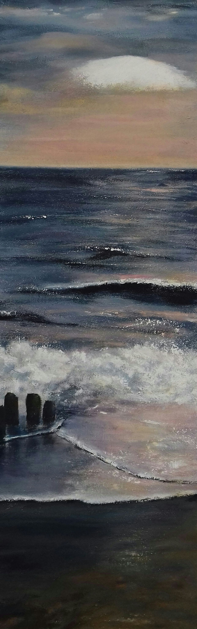 Abendstimmung am Meer | Acrylmischtechnik | 90cm x 30cm