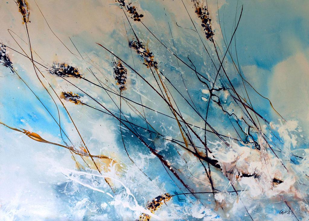 Gräser im Schnee | Acryl | 70cm x 100cm