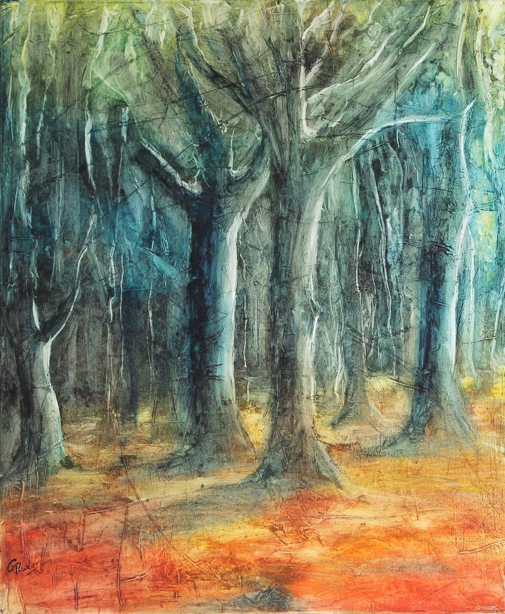 Wald | Wachs mit Pigmenten | 60cm x 50cm |  verkauft