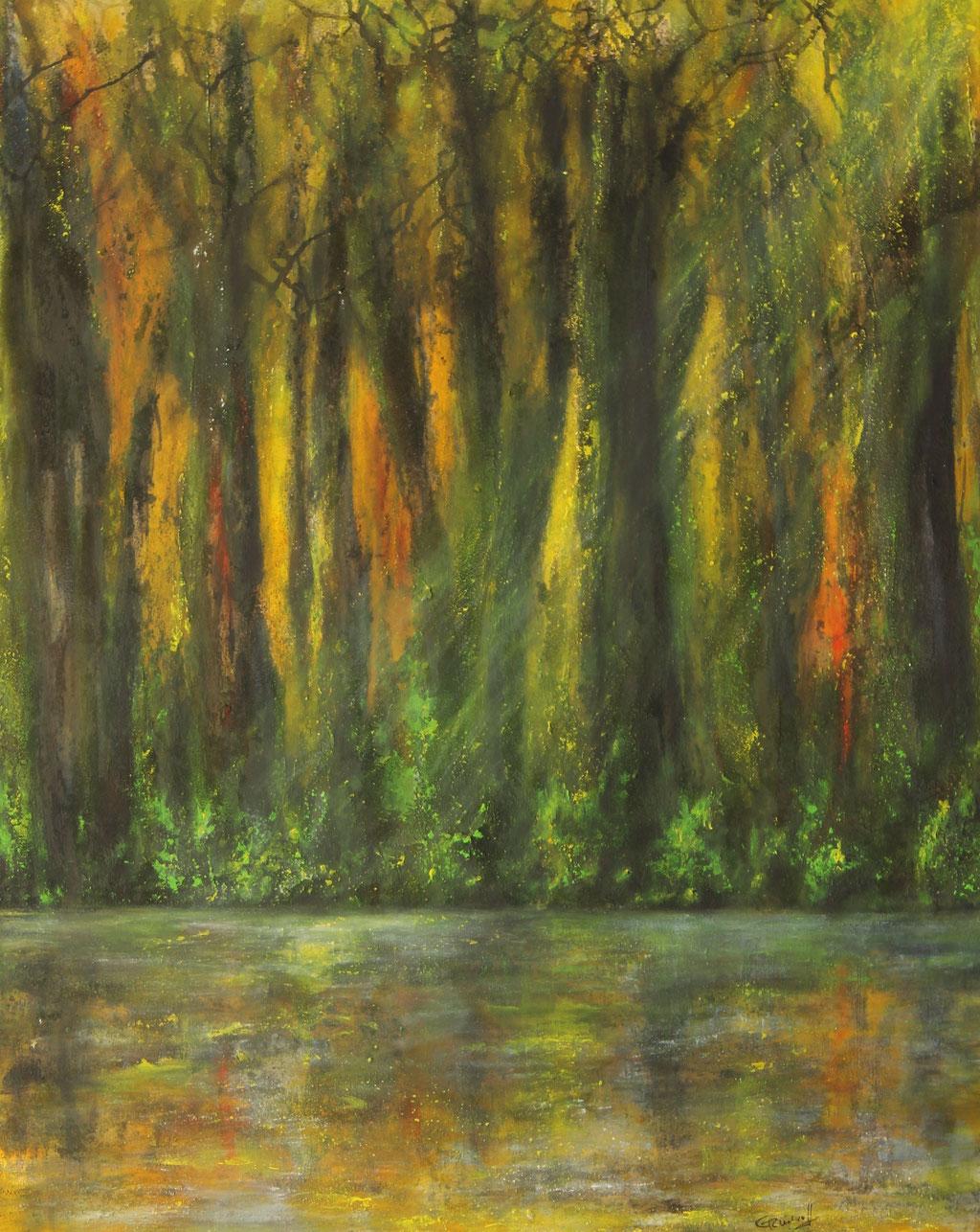 Lichtspiegelung Waldsee | Acrylmischtechnik | 100cm x 80cm