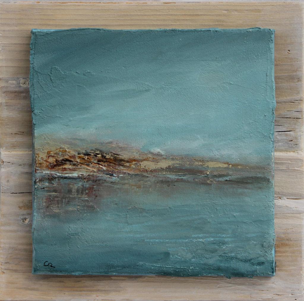 Kleine Meerlandschaft | Acrylmischtechnik, Keilrahmen auf Holz | 25cm x 25cm