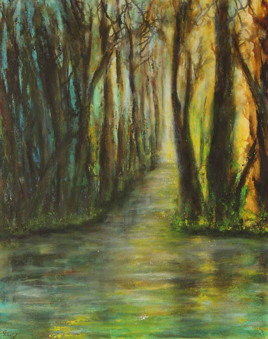 Waldsee 2 | Acrylmischtechnik | 100cm x 80cm | verkauft